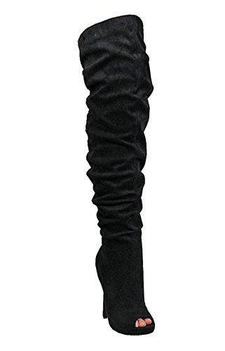 Peep Liliana Black Stiletto Toe Slouch Thigh High Boot Opus5 OxwqaCd