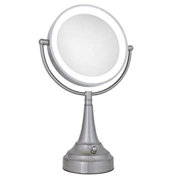Zadro Lighted Makeup Mirror.Zadro 10x 1x Led Lighted Round Satin Nickel Vanity Mirror