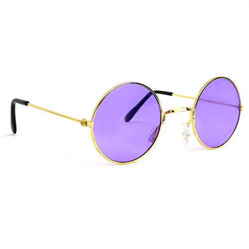 Skeleteen John Lennon Hippie Sunglasses - Purple 60's Style Circle Glasses - 1 Pair]()