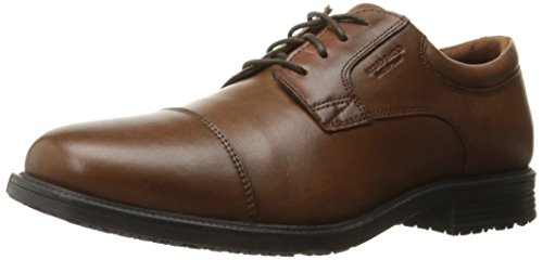 Rockport Men's Esntial Dtl WP Cptoe Oxford, Tan Antique Leather, 9 M - Oxford Toe Resistant Slip