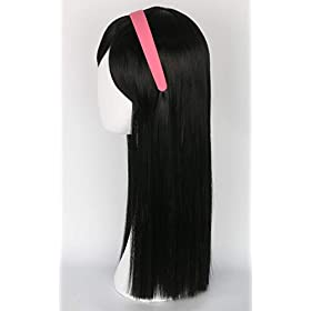 Topcosplay Girls Kids Children Wigs Black Long Straight Cosplay Halloween Costumes Party Wig with Headband