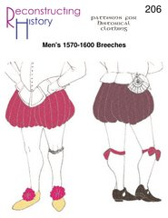 [1570s-1600s Men's Breeches Pattern] (Codpiece Costumes)