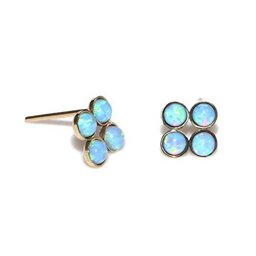 Gold 3mm Blue Opals Post Earrings/Tiny Stud Earrings, Opal Earring ()