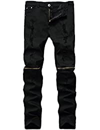 Men's Ripped Skinny Distressed Destroyed Straight Fit Zipper Jeans with Holes