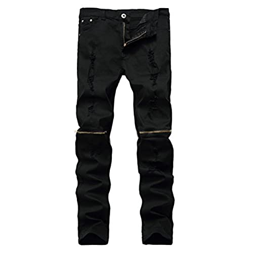 Qazel Vorrlon Men s Black Ripped Skinny Distressed Destroyed Straight Fit Jeans With Holes, W32 Black W32