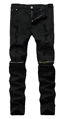 Qazel Vorrlon Men 's Black Ripped Skinny Distressed Destroye