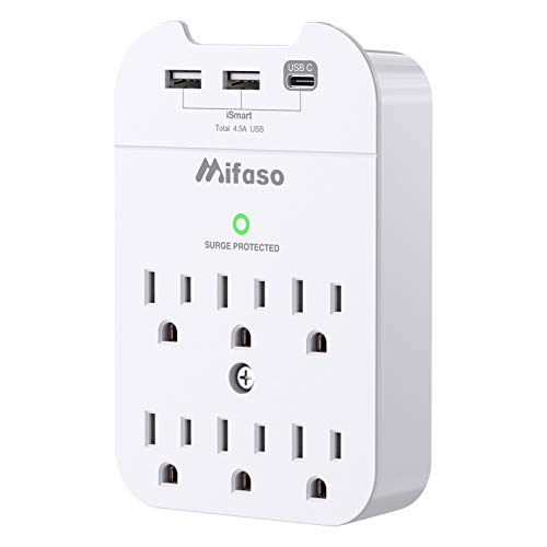 Wall Outlet Surge Protector Power Strip, Multi Plug Outlet Extender, 6-Outlets 3 USB 4.5A Mountable Wall Adapter with Type C Port Phone Holder for Office Home