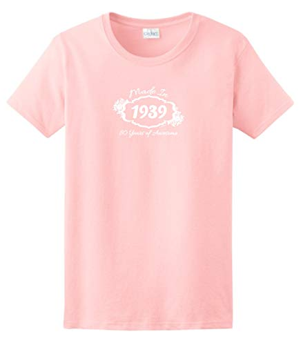 80th Birthday Candles Cards 80th Birthday Gift Made 1939 80 Years Awesome Ladies T-Shirt Small Light Pink]()