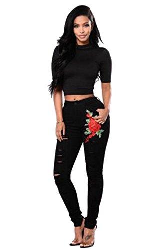 elástico ripeada elástica de pantalones jean bordado ajustados Negro Elástico Clásico vaquero cintura Rasgada a Luckywe mujeres xCFq00