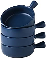 Swuut Ceramic Soup Bowls with Handles, 21 Oz Stacked Bowls for French Onion Soup, Cereal, Stew, Set of 4