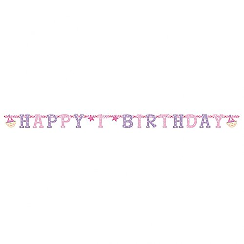 "9.5"" Happy 1st Birthday Pink Party Letter Banner Decoration"