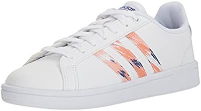 adidas Originals Women's Cloudfoam Advantage Sneaker, White/Clear Orange/Chalk Coral, 5 M US