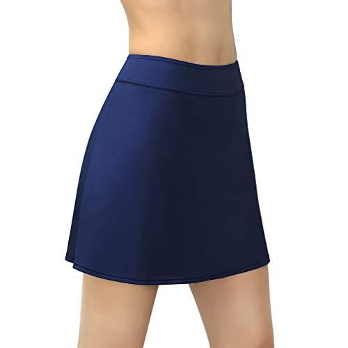 - Saejous Women's Swim Skirt Bikini Tankini Bottom High Waisted Plus Size Solid Swimdress Skirt Dark Blue