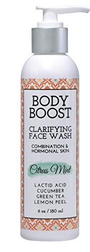 Body Boost Clarifying Daily Face Wash, Citrus Mint, 6oz- Hormonal Breakouts- Pregnancy and Nursing Safe- Vegan- Clinically Proven Ingredients
