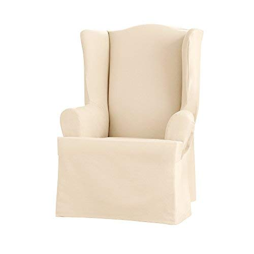 Sure Fit Heavyweight Cotton Duck Wing Chair Slipcover - Natural (SF41834)