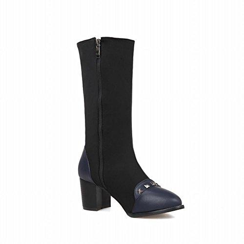 Latasa Womens Fashion Elastic Rivets Studded Chunky Mid-heel Mid-calf Boots Blue SdVIgNy