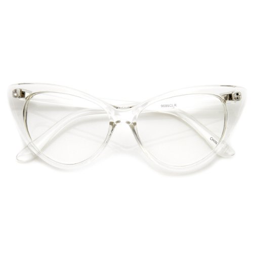 zeroUV - Super Cat Eye Glasses Vintage Inspired Mod Fashion Clear Lens Eyewear (Clear)