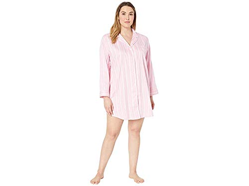 LAUREN RALPH LAUREN Women's Plus Size Pointed Notch Collar Sleepshirt Pink Stripe X-Large