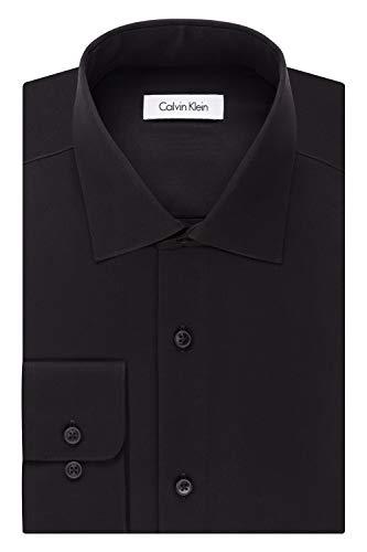 Calvin Klein Men's Big and Tall Dress Shirts Non Iron Herringbone Solid, Black, 19