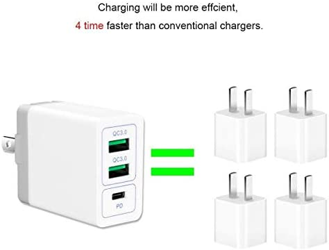Quick Charge3.0 USB Wall Charger Adapter Charging Block Plug,30WTravel QC2.0 SmartPorts+Foldable Plug for SamsungS9S8 Note8,iPhoneX//8iPad LGNexusHTC/&More CAR Black