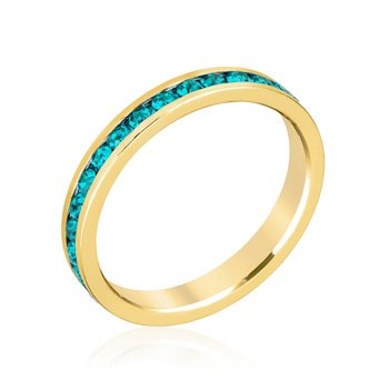 J Goodin Stylish Stackables Turquoise Crystal Gold Ring - Size 7 from JGOODIN
