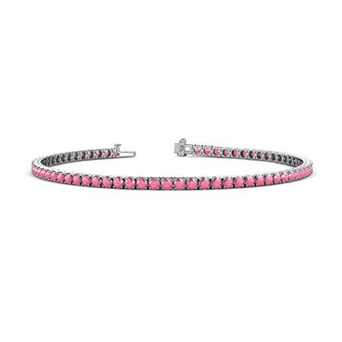 White Gold Pink Tourmaline Bracelet - TriJewels Round Pink Tourmaline 2.4mm Womens Eternity Tennis Bracelet 14K White Gold