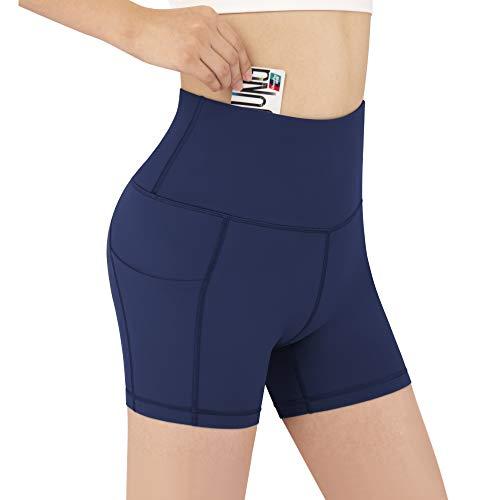 Women's Short High Waist Birker Yoga Workout Running Compression Exercise Shorts 3 Pockets(Grey,L) (Dark Bule, Medium)