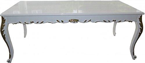 Casa Padrino Barock Esstisch Weiß Hochglanz / Gold - Esszimmer Tisch - alle Grössen, Tisch Abmessungen:240 x 100 cm x H 82 cm