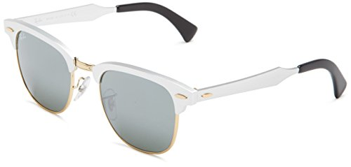 Ray-Ban CLUBMASTER ALUMINUM - BRUSHED SILVER/ARISTA Frame GREY MIRROR Lenses 49mm - Ban Ray Clubmaster Sunglasses