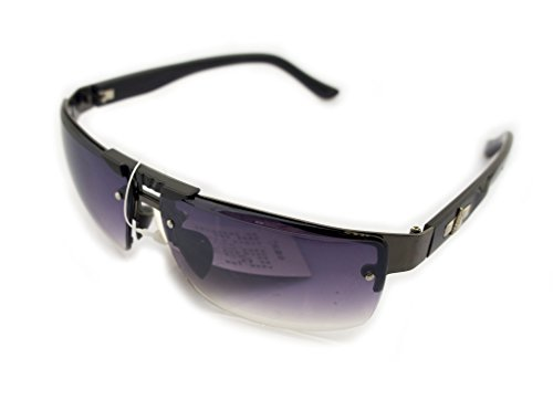 - HAND 185 Stylish Unisex Sunglasses with Silver Temple Motif - Width at Temples 132 mm - 100% UV400 Protection - Black & Gunmetal Grey Frame with Violet Lenses