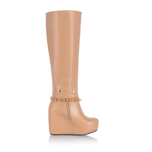 Heels 7 High Boots Ornament US with Toe B Apricot Closed Womens and AmoonyFashion M Round Zippers Lace Solid nTv6xX