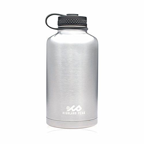 64 oz Stainless Steel Insulated Water Bottle and Beer Growler by Highland Peak - Wide Mouth Canteen - Hot and Cold - BPA Free Metal Thermos Flask