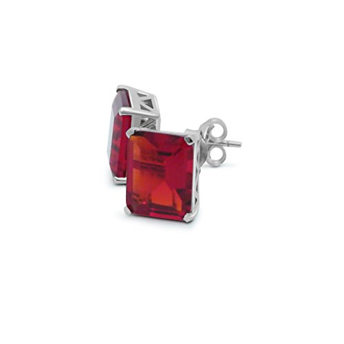 Helenite Rectangle Gemstone Square Stud Earrings - 3.5 CT Gaia Stone - Claw Set in 925 Sterling (Red)