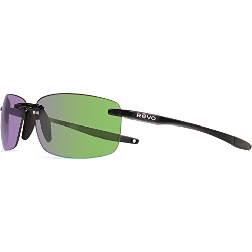 Revo Descend N RE 4059 01 GN Polarized Rectangular Sunglasses, Black/Green Water, 64 - Descend Sunglasses N Revo