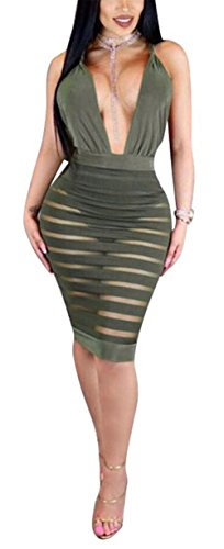Womens Sexy Deep V-neck Backless Crossover See Through Bodycon Party Club Midi Dress (M, green) by Antique Style