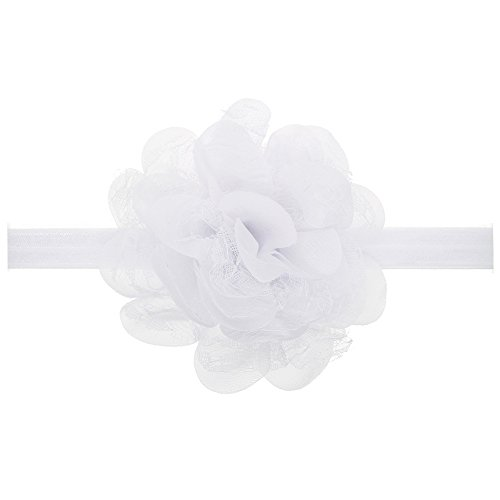 (Floral Fall Baby Girls Cute Elastic Chiffon Lace flower Headbands Hair Bands BY-36 (White))