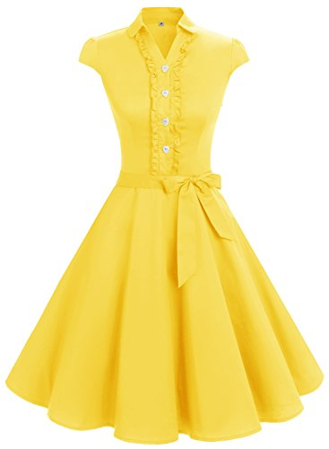 Vintage Fashion Retro (Wedtrend Women's 1950s Retro Vintage Dress Cap Sleeve Rockabilly Swing Dress WTP10007a-Yellow-Small)