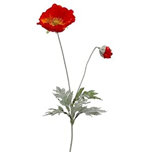 "Silk Poppy Flower in Flame - 26"" Tall x 4"" Bloom - Set of 3 114"