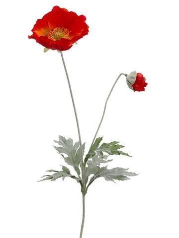 Silk Poppy Flower in Flame - 26