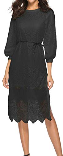 Crewneck 3 Bodycon Casual Hollow Sleeve Lace Belt Women 4 Black Dresses Cromoncent Hwx07Oq