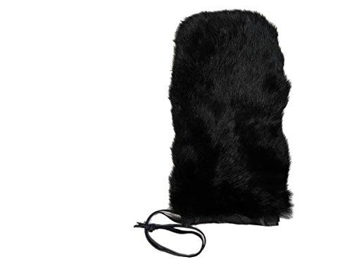 1 SINGLE Rabbit Fur Massage Mitt (No Thumb): Dyed Black (696-9NTULBD-S)