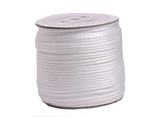 (U PICK Wholesale Multi-colors 2 Roll 100 Yards 2.0mm Rattail Satin Silk Cord Chinese Knot Beading Cord (02 White))
