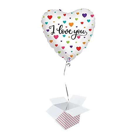 PARTYRAMA.CO.UK Colourful Hearts I Love You Holographic Foil Helium Balloon – Inflated Balloon in a Box 31kmWAmpykL