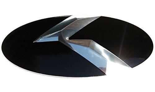 Metal Skin K Emblem Badge Overlay for KIA Telluride 2020 Gloss Black/Chrome K Front/Rear 2pc ()