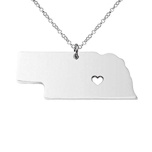 - Joyplancraft Nebraska State Charm Necklace,NE State Necklace,Custom Necklace With A Heart (Silver)