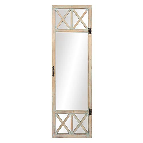 Rustic French Doors - Patton Wall Decor 19x60 White Wash Distressed Wood French Door Full Length Wall Mounted Mirrors Natural
