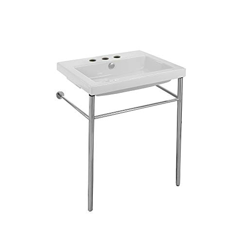 Tecla CAN01011-CON-Three Hole Cangas Rectangular Ceramic Console Sink and Polished Chrome Stand, White ()