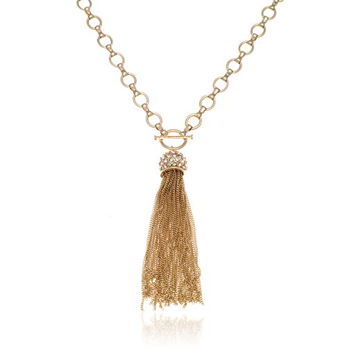 T Tahari Long Gold Chain Tassel Necklace with Crystal Fireball Pendant