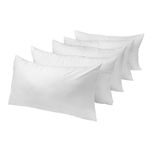 Five-Pack Set of Queen-Size Bed Pillows, Medium-Firm Support, Ultra Light and Airy, Hypoallergenic, Mold, Mildew and Dust Mite resistant by Butterfly Craze