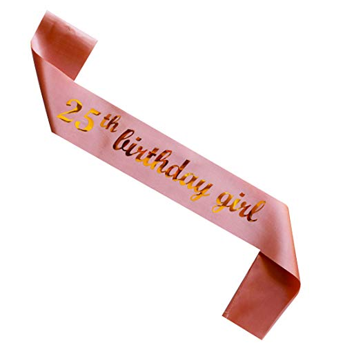 MAGJUCHE 25th Birthday Girl sash, Rose Gold Girl 25 Years Birthday Gifts Party Supplies, Pink Party Decorations
